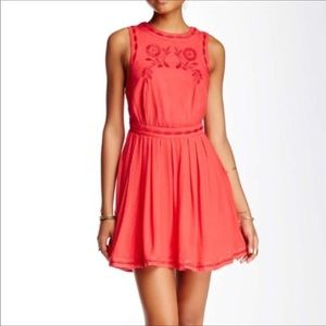 Free People Coral Birds of a Feather Dress